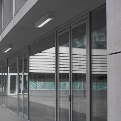 Plafoniera da esterno T5 54W 120cm in alluminio e vetro color grigio - AFRODITA