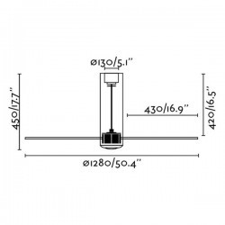 Ventilatori da soffitto Faro TUBE FAN Ø128 CMS NEGRO MATE 3 PALAS