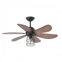 Ventilatori da soffitto con luce Faro CHICAGO Ø90CMS 6 PALAS NEGRO 1XE27 60W