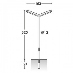 Colonna per Lampioni IBARRA IP65 2G11 2x80W Inox