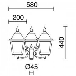 Boccia Lampioni ROB IP43 3x70W E27 Nero Vetro Opaco