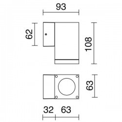 Applique da esterno CUB IP54 GU10 max.35W 1em Bianco