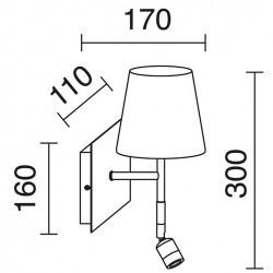 Applique con lettore LED E27+led 3W Cromo