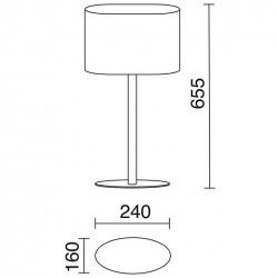 Lampada da tavolo ovale E27 nichel satinato