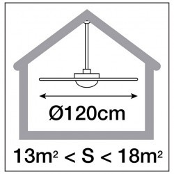 Ventilatore da soffitto FUJIL sin luce IP20 Ø120cm Bianco