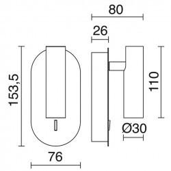 Applique DIRK IP20 LED 3W 200lm Bianco 3000K