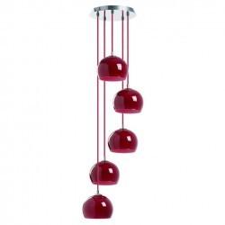 Lampada a sospensione ESTIKLA IP20 5xE14 vetro rosso
