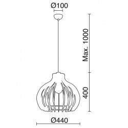 Lampada a sospensione CUSKA IP20 E27 legno chiaro