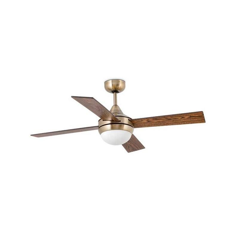 Ventilatori da soffitto oro invecchiato con luce Faro MINI ICARIA Ø106