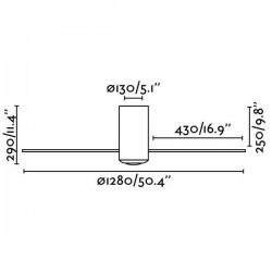 Ventilatore da soffitto Faro MINI TUBE Ø128CM DC nero opaco + trasparente