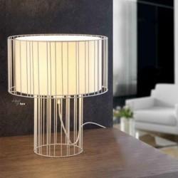 Desktop Acero-Textil LINDA all'interno nero 1 L E27 lampada