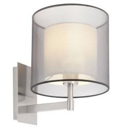 Lampada applique da parete E27 in metallo e tela color nichel opaco - SABA