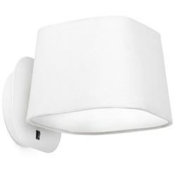 Lampada applique da parete E27 in metallo e tela color bianco - SWEET