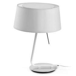 Lampada da tavolo E27 in metallo e tela bianco - HOTEL