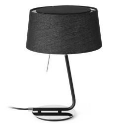 Lampada da tavolo E27 in metallo e tela color nero - HOTEL