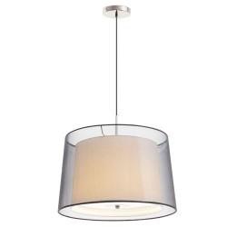 Lampada 3xE27 a sospensione in metallo e tessile color nichel opaco - SABA