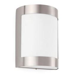 Applique E27 da esterno in acciaio e PC color nichel opaco - CELA-1