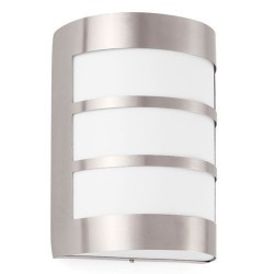 Applique E27 da esterno in acciaio e PC color nichel opaco - CELA-2