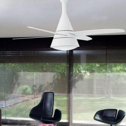 Ventilatore da soffitto con luce e telecomando bianco - Faro WIND