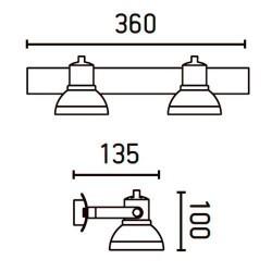 Applique 2 faretti bianco - RING