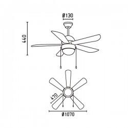 Ventilatore da soffitto con luce e telecomando bianco - Faro VENETO