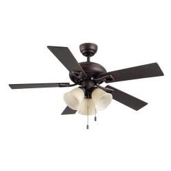 Ventilatore da soffitto con luce color marrone rame - DOMINICA