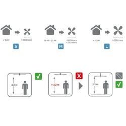 Ventilatore da soffitto con luce e telecomando color nichel satinato - BELMONT