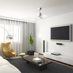 Ventilatore da soffitto con luce LED e telecomando color bianco - TIGA